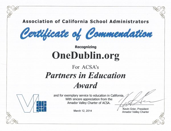 Association of California School Administrators Recognition 2014 Partners in Education Award