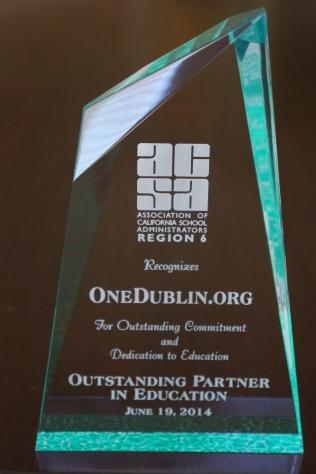 OneDublin-org ACSA Region 6 Outstanding Partner in Education Award 2014