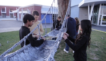 Dublin High School Engineering Students Build Duct Tape Suspension Bridge
