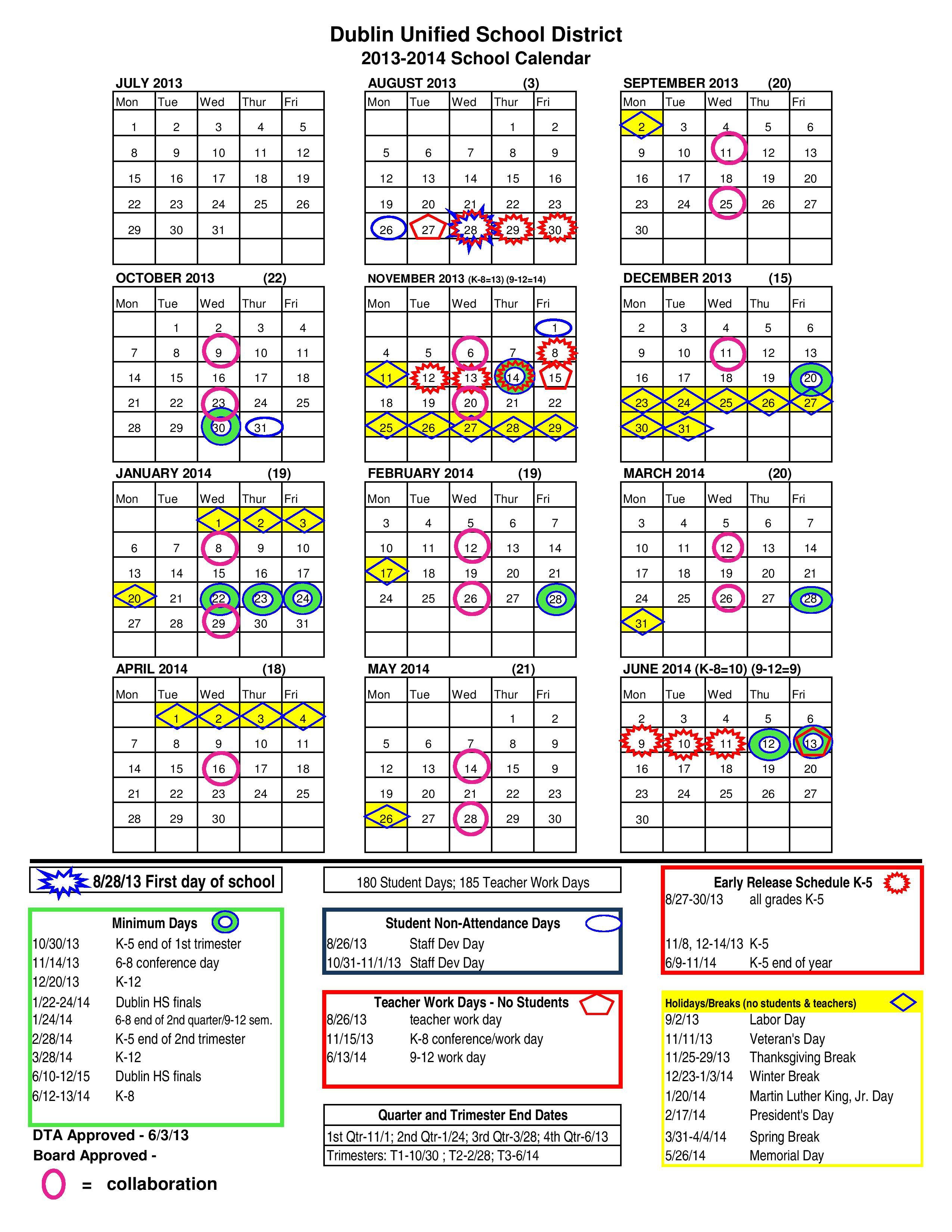 Dublin School Calendars 2013-14 | OneDublin.org