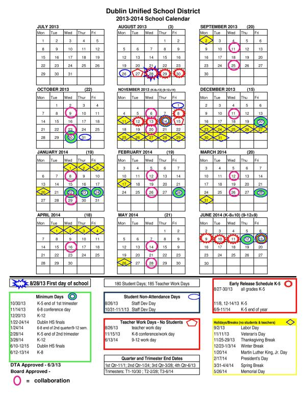 Dublin Unified School District Calendar 2013-14 Ratified 6.3.13-page-001