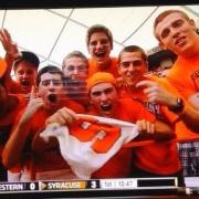 Chandler Bullock with Fellow Syracuse University Fans on ESPN