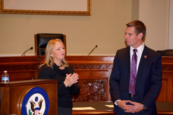 Alameda County District Attorney Nancy O'Malley Introduces Congressman Eric Swalwell