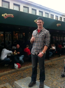 Dublin High School Graduate Clint Jackman in Boston Outside Cheers