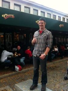 Dublin High School Graduate Clint Jackman in Boston Outside Cheers