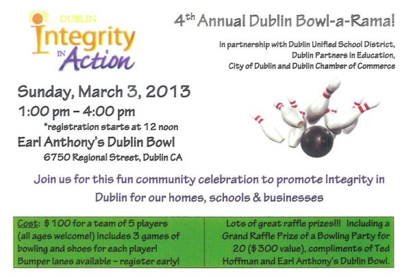 Dublin Integrity in Action 4th Annual Dublin Bowl-a-Rama