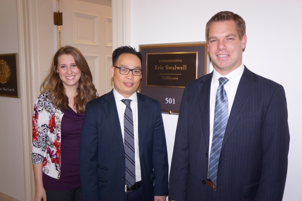 Eric Swalwell with Ricky Le and Karly Noblitt