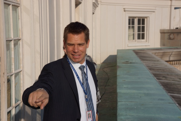 Eric Swalwell Outside his Office Above the Cannon House Inner Court