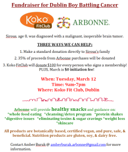 Koko FitClub and Arbonne Fundraiser for Sirous