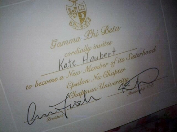Chapman University Gamma Phi Beta Invitation