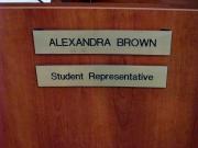 Dublin Unified School District Student Representative Alexandra Brown name plate