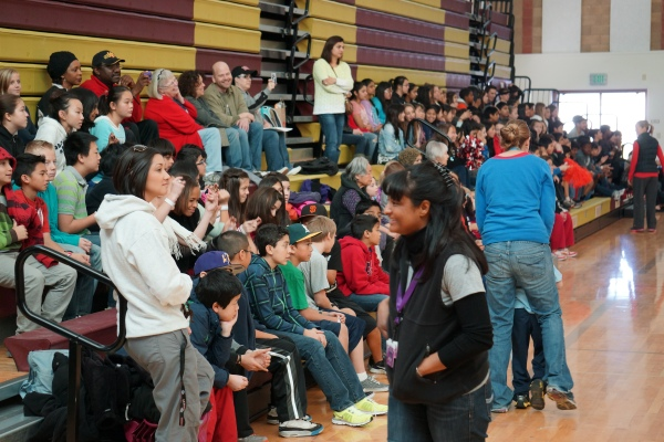 Fallon Middle School Students Cheer on Special Olympics Participants