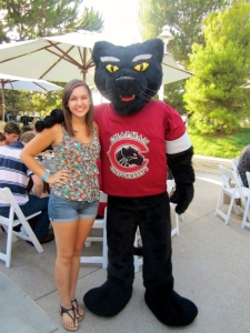 Katelyn Haubert with Chapman University Mascot