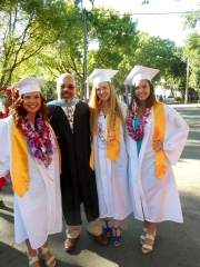 Katelyn Haubert with Dublin High School Class of 2012 graduates and teacher Ron Rubio