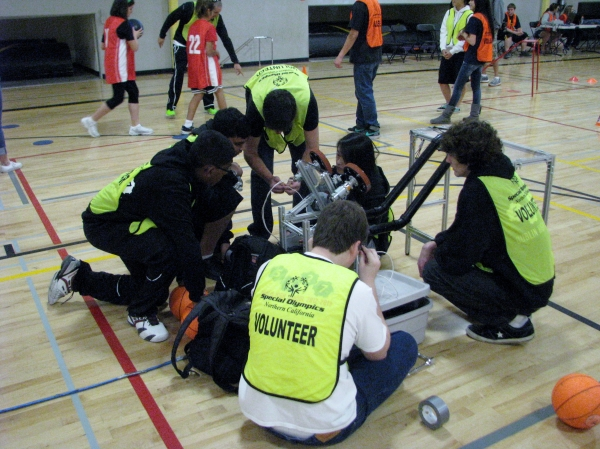 Dublin High School Gaels Robots Basketball Throwing Machine for Special Olympics Event