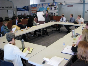 Assemblywoman Joan Buchanan presents to Dublin Unified School District administration and community leaders