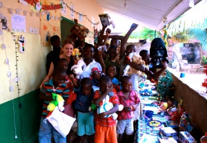 Kelsey Finnegan at the Happy Kids Orphanage in Hohoe Ghana during Christmas