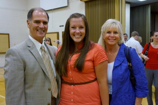 Superintendent Dr. Stephen Hanke with Crystal Apple Award Winner Kelly Beck and Principal Carol Shimizu
