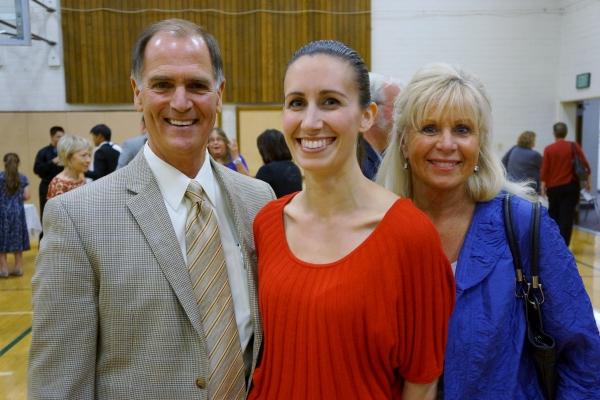 Superintendent Dr. Stephen Hanke with Crystal Apple Award Winner Lisa Carhart and Principal Carol Shimizu