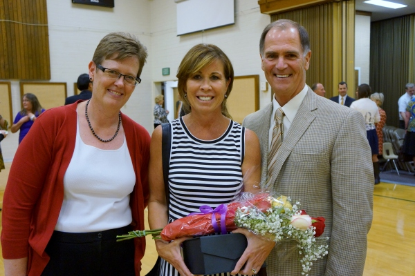 Valley High School Principal Rinda Bartley with Crystal Apple Award Winner Laurie Sargent and Superintendent Dr. Stephen Hanke