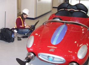 Molly with an Autopia vehicle