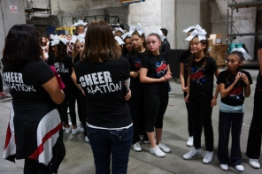 Fallon Middle School Cheer Team Prepare for Warriors 2013 Halftime Show