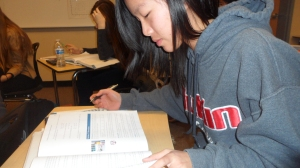 Dublin High student studying for an AP exam
