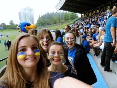UBC Thunderbird Spirit (Emily far right with friends)