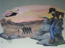 Camp Parks Gunslingers Mural in conference room
