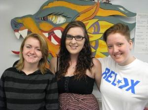 Students Monica Krommenhock, Lexie Winter, Peggy Walker