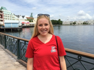 Emily Edlund outside the BoardWalk Resort in Walt Disney World