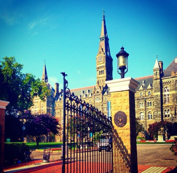 Georgetown University Healy Hall and Front Gates