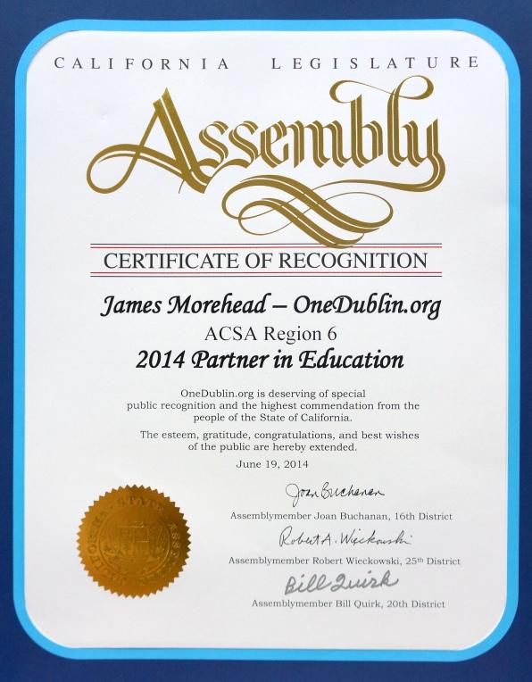 OneDublin_org California Legislature Assembly Certificate of Recognition ACSA Region 6 2014 Partner in Education