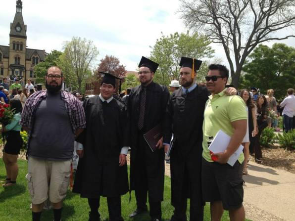 Hamline Erik Wong with Teammates at Graduation