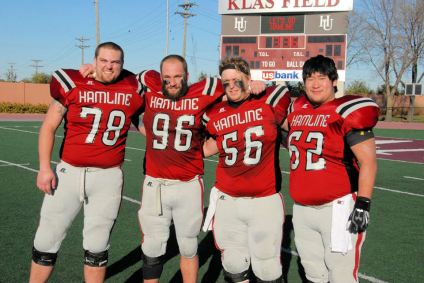 Hamline Football Senior Lineman Erik Wong Far Right