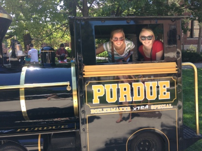 Purdue University Student Crystal Fisher and Friend on the Boilermaker Special
