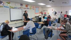 Matthew Dierking speaking with VHS students