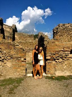 Rebecca Touring Pompeii Italy with her roommate