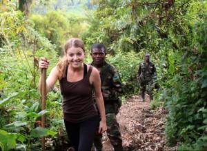 Kelsey hiking a volcano in Rwanda