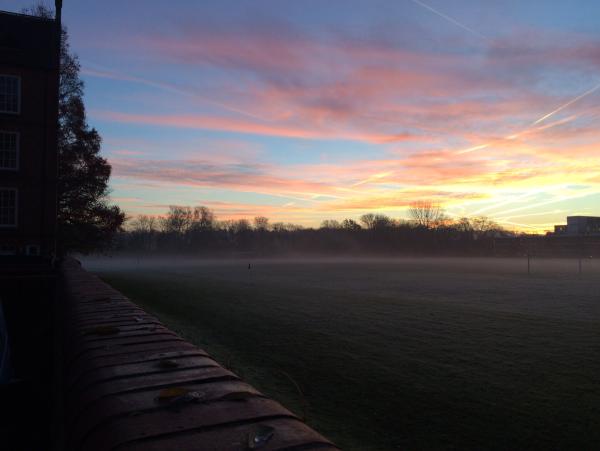 Oxford University Football (aka Soccer) Team practice at 7am