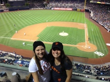Jenny with roommate Kacey Borgeson at the Padres Stadium