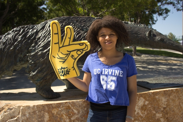 Me in front of Anteater Statue with Props