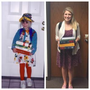 Kirsten on her first day of kindergarten and last day of law school