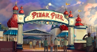 PIXAR PIER MARQUEE AT DISNEY CALIFORNIA ADVENTURE (ANAHEIM, Calif.) – When Pixar Pier opens on June 23 at Disney California Adventure park, guests will enter the permanent new land through a dazzling new Pixar Pier marquee. This reimagined land will feature four whimsical neighborhoods representing beloved Pixar stories with newly themed attractions, foods and merchandise. The Pixar Pier marquee will be topped with the iconic Pixar lamp later in the year. (Disney•Pixar/Disneyland Resort)